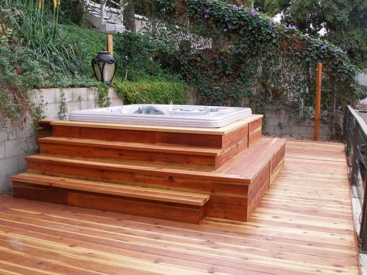 deck bois massif jacuzzi